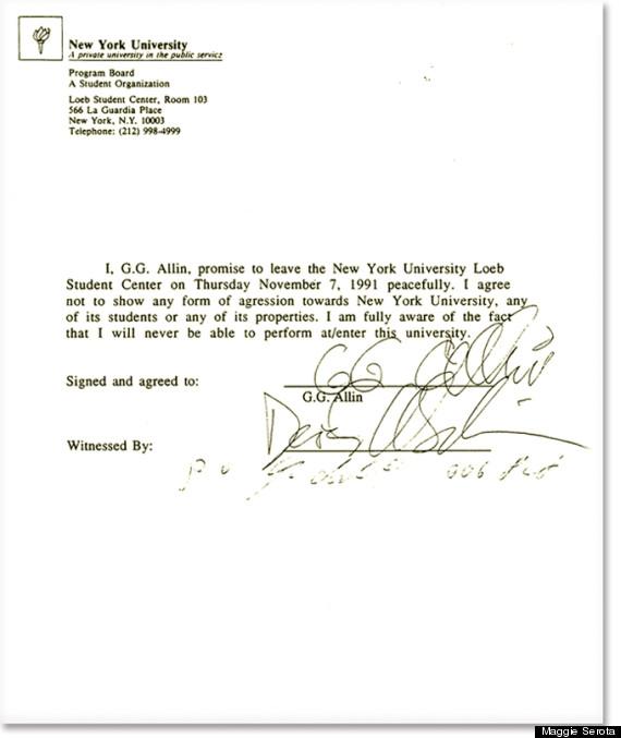 Carta de expulsión de GG Allin en la NYU